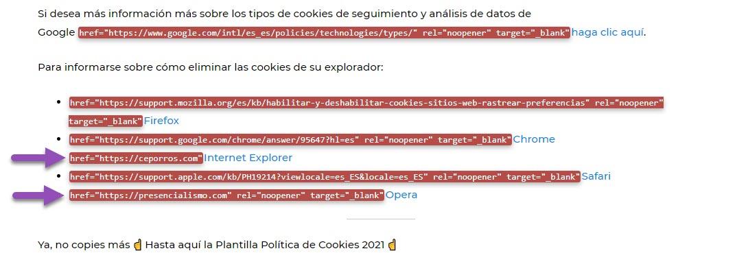 Enlaces sopechosos en la política de cookies